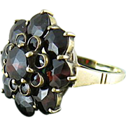 Victorian 14K Gold Rose-Cut Bohemian Garnet Cluster Ring