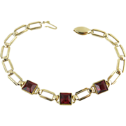 14K Gold Estate Bracelet With Ruby Red Pastes