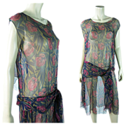 Vintage 1920's Art Deco Rose Printed Silk Chiffon Dress In A Larger Size