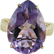 14K Gold Estate Cocktail Ring With Pear Shaped 9+ Carat Amethyst Size 10.5
