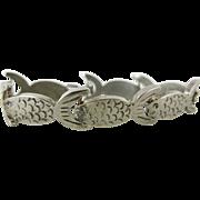 Charming Vintage Cast Sterling Silver Fish Bracelet