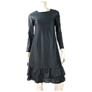 Chic 1960's French Little Black Dress In Slinky Rayon With Renal Paris Label