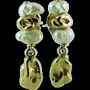 Charming Vintage 14K Gold Nugget Freshwater Pearls Dangle Earrings