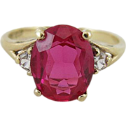 Vintage 10K Gold Oval Ruby And White Sapphire Ring