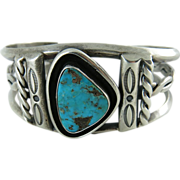 Vintage Native American Sterling Silver And Turquoise Cuff Bracelet