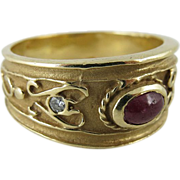 Vintage 18K Yellow Gold, Natural Ruby And Diamond Etruscan Style Ring Size 10.5