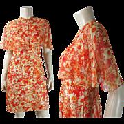 Vintage Tina Lesser Printed Silk Dress With Matching Silk Chiffon Cape Circa 1960