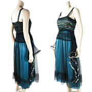 Wonderful Vintage Circa 1920 Silk, Tulle And Metallic Lace Robe de Style Evening Dress With Panniers