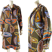 Vintage 1960's Jeanne Lanvin Shirt Dress In Larger Size With Graphic African Print