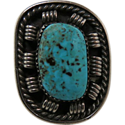 Vintage Navajo Native American Silver And Turquoise Ring By Paul Chee