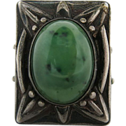 Outstanding Vintage 1940's Native American Modernist Silver And Green Agate Ring