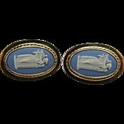 Vintage 14K Gold Wedgwood Blue Jasperware Post Earrings