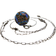 Vintage Chinese Art Deco Enameled Ball Pendant Necklace With Drop Chain