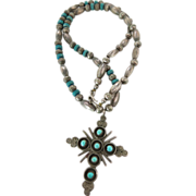 Vintage Southwestern Sterling Silver And Turquoise Cross Pendant Necklace