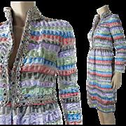 Vintage 1970's Oscar de la Renta Jeweled Colored Lame Cocktail Dress