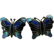 Charming Vintage Enameled Sterling Silver Butterfly Earrings With Post And Clutch Findings