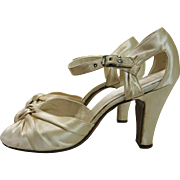 1930's Vintage Candlelight Silk d-Orsay Ankle Strap Peep-Toe Evening or Wedding Shoes With Spanish Heels