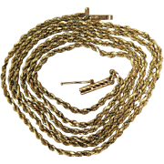 Vintage 14K Gold Twisted Diamond Cut Rope Chain Necklace 24-Inches Long