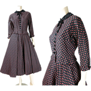 Smart Vintage 1940's Printed Cotton Faille Skirt Suit