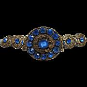 Lacy Vintage Gold-Tone Station Bracelet With Sapphire Blue Paste