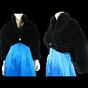 Vintage Circa 1960 Textured Velvet Cropped Dolman Sleeve Evening Jacket