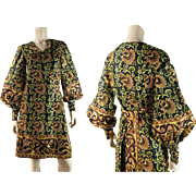 Exotic Vintage 1960's India Print Wrap Dress With Bishop Sleeves