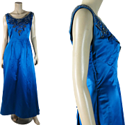 Elegant Vintage 1960's Beaded, Jeweled And Sequined Blue Rayon Satin Evening Gown