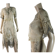 Opulent Antique Circa 1915 Belle Epoque Beaded And Embroidered Two-Piece Fringed Dress