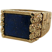 Exceptional Vintage Mens 14K Yellow Gold Lapis Lazuli Ring Size 11
