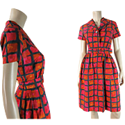 1960's Vintage French Dress With Painterly Print And Mercier Freres Label