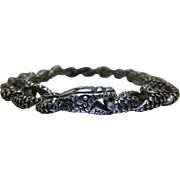 Extraordinary Vintage 9 3/8-Inch Sterling Silver Snake Bracelet - 84.2 Grams