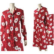Great 1940's Four Piece Rayon Dress With Two Skirts