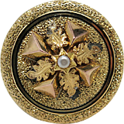 Antique Victorian Enameled 18K Gold And Seed Pearl Brooch / Watch Pin