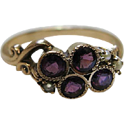 Charming Antique Victorian 14K Gold Amethyst And Seed Pearl Ring