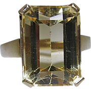 Vintage 14K Yellow Gold 8 Carat Step-Cut Citrine Cocktail Ring