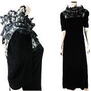 1970's Vintage Mary McFadden Black Silk Velvet And Lace Dress With Sara Fredericks Retailers Label