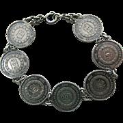 Antique 1856 - 1867 Brazilian Silver Coin Bracelet - 8 3/8-Inches Long