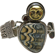 Vintage 1970's Tabra Sterling Silver Mesh Bracelet With Gemstone And Moon-Face Charm