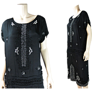 "Larger 1920's Vintage Art Deco Beaded Silk Dress With ""Poiret"" Roses"