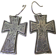 Vintage Southwestern Sterling Silver Cross Earrings Signed And Stamped With Native American Pictographs