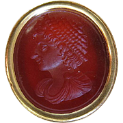 Fine Antique Georgian 18K Gold Carved Carnelian Intaglio Seal / Fob
