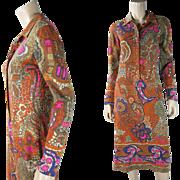 1970's Vintage Leonard Paris Printed Jersey Dress