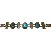 Vintage Egyptian Art Deco 900 Silver And Faience Scarab Bracelet