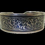 Vintage Russian 875 Silver And Niello Enamel Cuff Bracelet