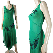 1930's Vintage Lime Green Silk Dress With Beaded And Sequined Rose Appliques And Car Wash Hemline