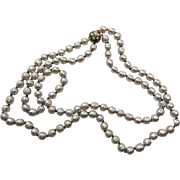 Signed Vintage Miriam Haskell 20-Inch Two Strand Simulated Baroque Silver Pearl Necklace