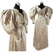 Rare Antique Dated 1831 Georgian Regency Champagne Silk Gigot Sleeve Wedding Dress With Proven