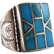 Vintage Handmade Native American Sterling Silver And Inlaid Turquoise Ring Size 11