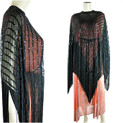 Dramatic 1930's Beaded And Sequined Evening Cape With Fringe And Drawstring Waist