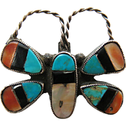 1930's Zuni Sterling Silver Butterfly Pin With Stone To Stone Inlay